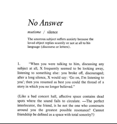 No Answer Barthes